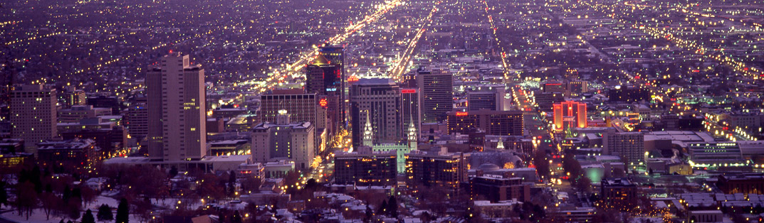 Skyline of Salt Lake City at night